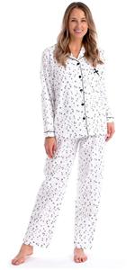 PJ PAJAMAS COTTON LONG SLEEVE COZY WARM Flannel pajamas pyjama nightgown buttons drawstring print