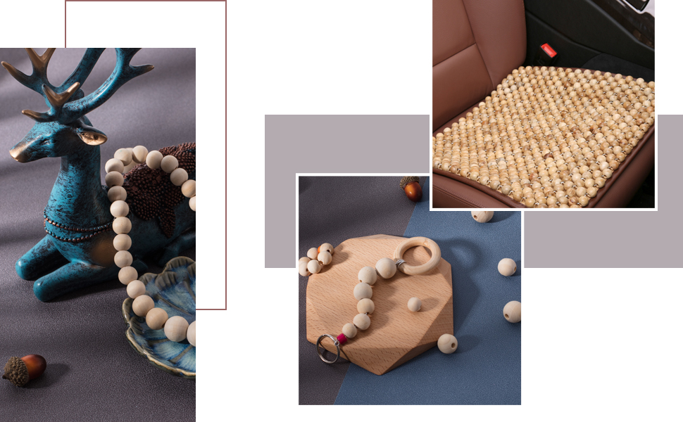 Natural Round Wooden Beads Assorted Round Wood Ball Loose Spacer Beads