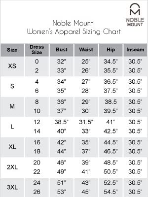 Noble Mount Womens Size Chart