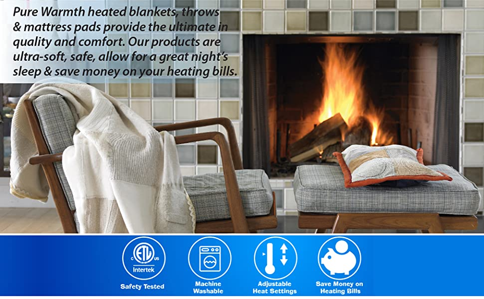 Pure Warmth Electric Heated Blankets and Mattress Pads