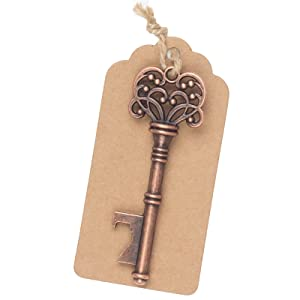 skeleton key bottle openers with tags and twine