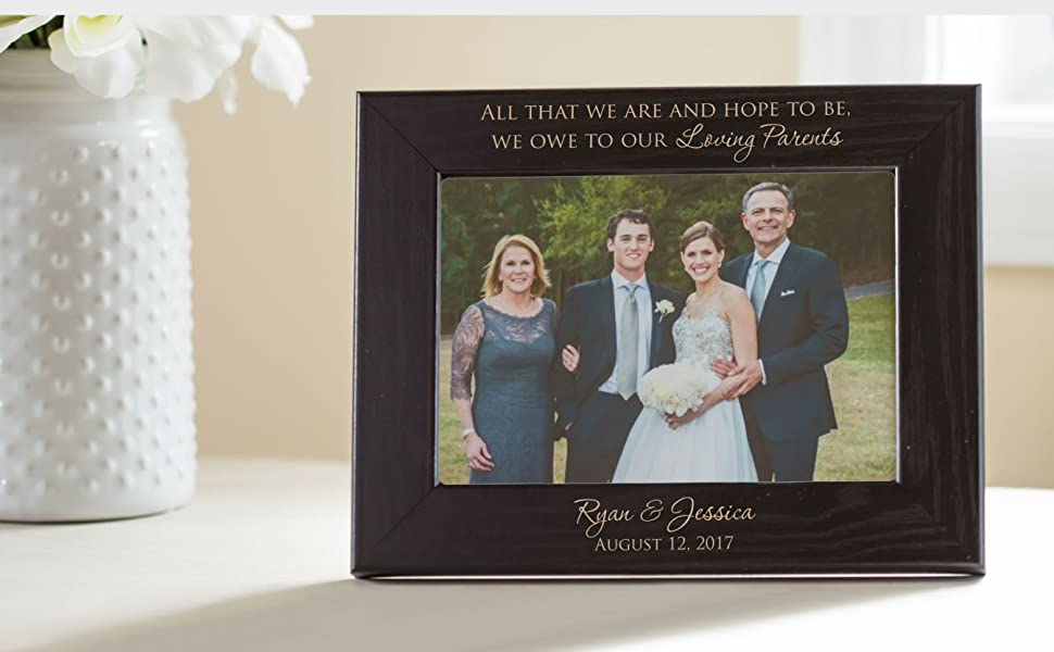Personalized Parents of the Bride & Groom Picture Frame (Black)