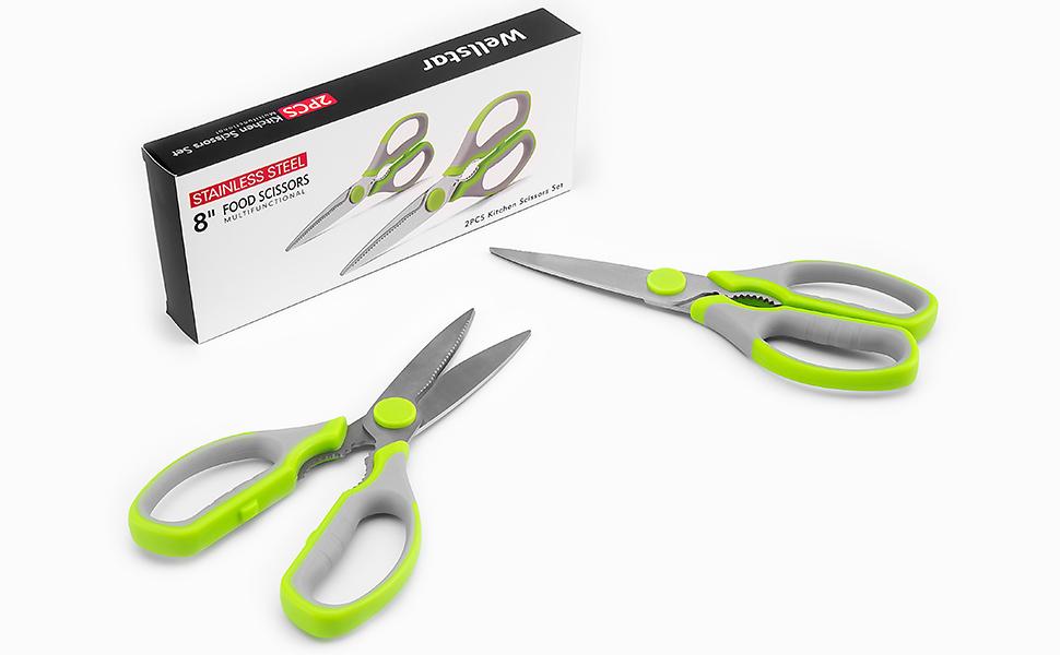 kitchen scissors set 2 stainless steel shears pack multipurpose