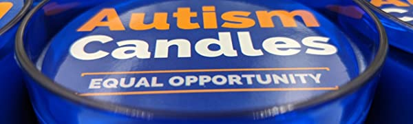 Blue jar with scented candle inside with lid label stating Autism Candles Equal Opportunity.
