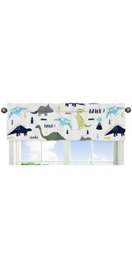 Window Treatment Valance for Blue and Green Modern Dinosaur Collection