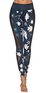 Floral Yoga Pants with Mesh Panel