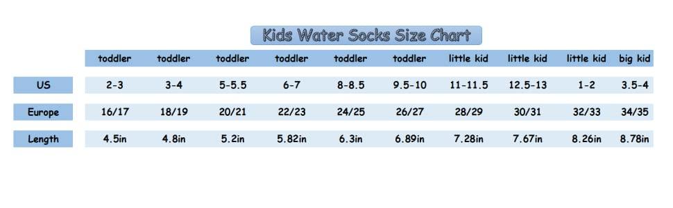 kids water socks size chart