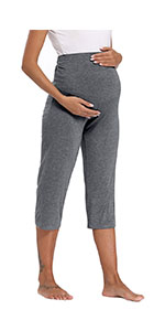 Fitglam Women's Maternity Capris for Lounge/Yoga/Workout