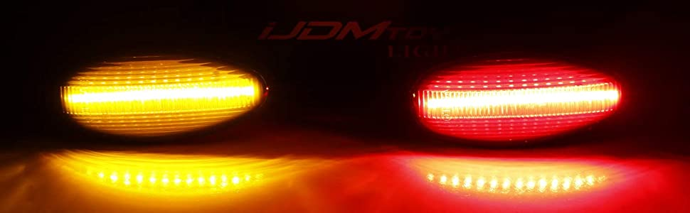 Smoked Lens Amber Red LED Trunk Bed Marker 08-14 Chevy GMC 2500HD 3500HD Dually Double Wheel Side