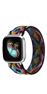 Fitbit Versa 2 Bands Elastic Replacement Sense Adjustable Nylon Fabric Strap Scrunchies Stretchy
