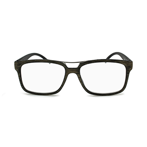 wood grain eyeglasses with metal top bar in light brown
