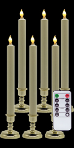 Gold Holders Flameless Window Candles