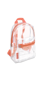 small clear backpack orange trim stadium approved 12x6x12 for women for school heavy duty mini boys