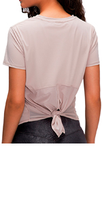 Yoga Shirts Top Open Back Tie up