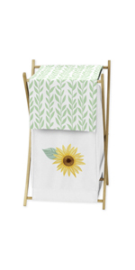 ellow, Green and White Sunflower Boho Floral Baby Kid Clothes Laundry Hamper