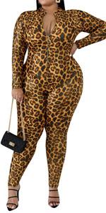 Plus Size Leopard Jumpsuit for Women