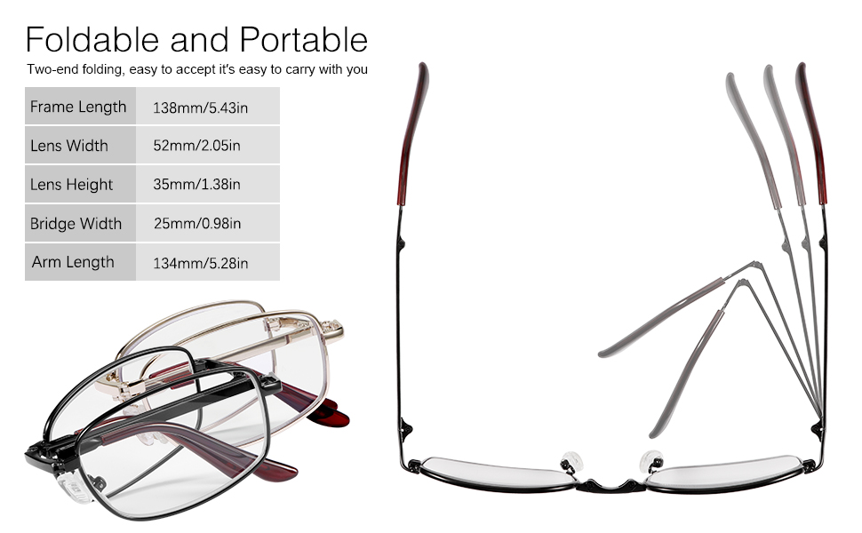 Foldable and Portable Multi Focus Reading Glasses