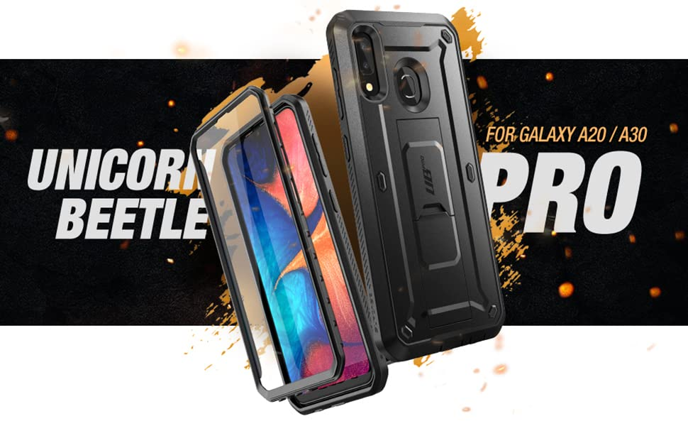 SupCase Unicorn Beetle Pro case for Galaxy A20 A30 Holster Kickstand with Built-in Screen Protector