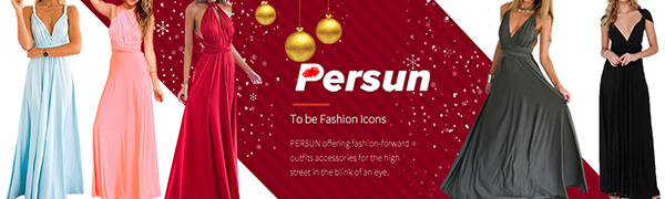 PERSUN Women Transformer Evening Long Prom Dress Multi-Way Wrap Convertible Bridesmaid Maxi Dresses