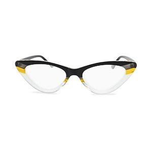 horn rimmed clear frame cat eye reading glasses color block plastic frame black yellow crystal