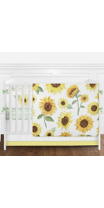 Yellow, Green and White Sunflower Boho Floral Baby Girl Nursery Crib Bedding Set
