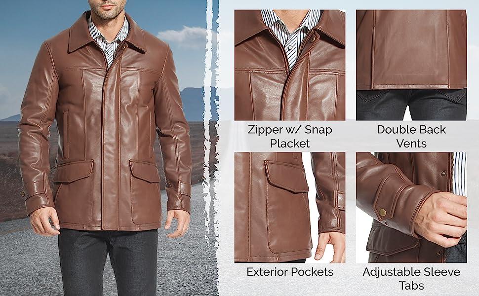 BGSD Men's Leather Coat Features