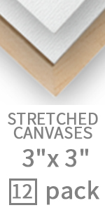 3X3 Inch mini stretched canvas easel set 12 pack