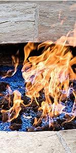 fire glass lava rock fire pit outdoor design blue mixed
