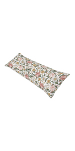 Vintage Floral Boho Body Pillow Case Cover (Pillow Not Included) - Blush Pink, Yellow, Green, White