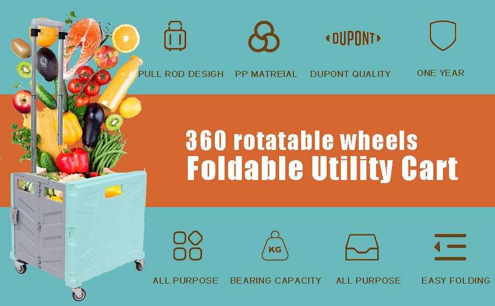 foldable utility cart heavy duty rolling cart