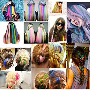 colored hair extensions clip in for kids