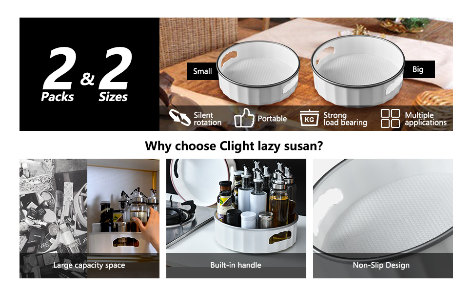 Lazy Susan Turntable 2 Pack