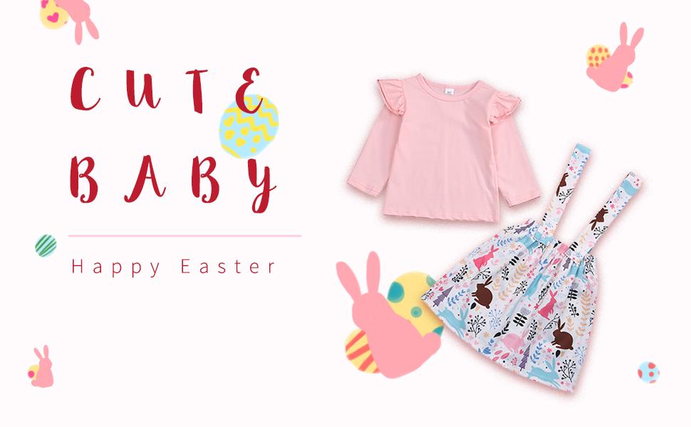 ruffle top+rabbit  print suspender skirt set