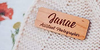 real wood assistant photographer name tag cherry hardwood