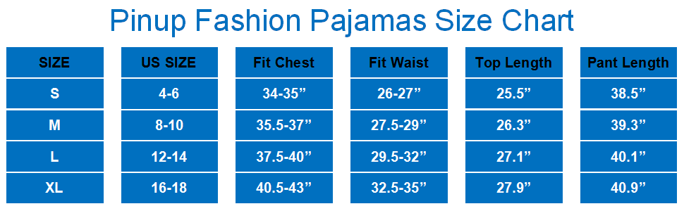 Pinup Fashion Pajamas Size Chart