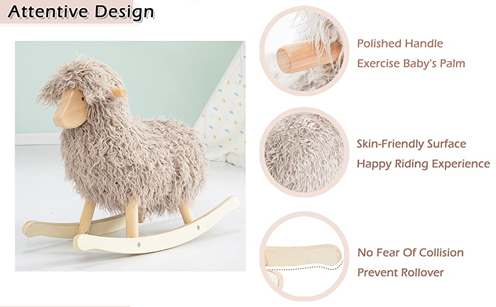 labebe Baby Wooden Sheep Rocking Horse for 1 Year Old