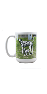 white ceramic 15 oz coffee mug with custom dog photo printed on front