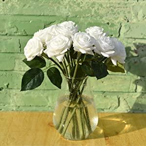 white roses white flowers waterproof fresh wedding bouquet bridal bridsmaid