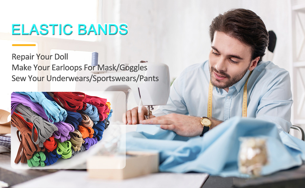 color elastic bands for sewing 1/4 inch