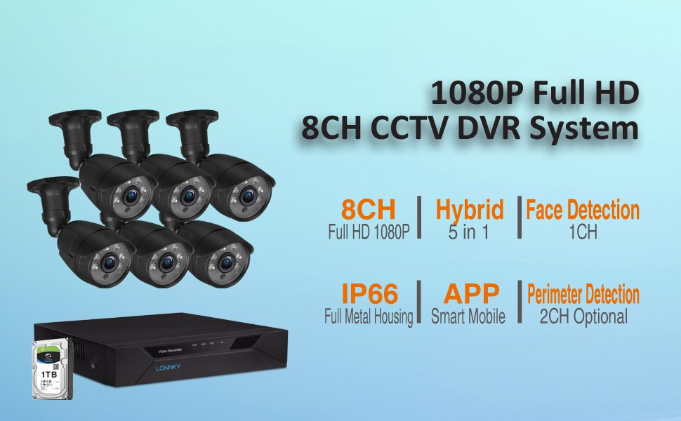 ZOSI 1080p FHD 8 Channel Security DVR Recorder with 2TB Hard Drive Surveillance CCTV DVR for Security Cameras Analog//AHD//TVI//CVI Motion Alert Push Remote Control Hybrid Capability 4-in-1