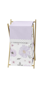 Lavender Purple, Pink, Grey and White Baby Kid Clothes Laundry Hamper