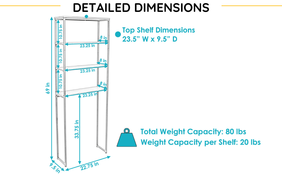 4-tier over-the-toilet shelf is 22.75 inches wide x 9.5 inches deep x 69 inches tall.