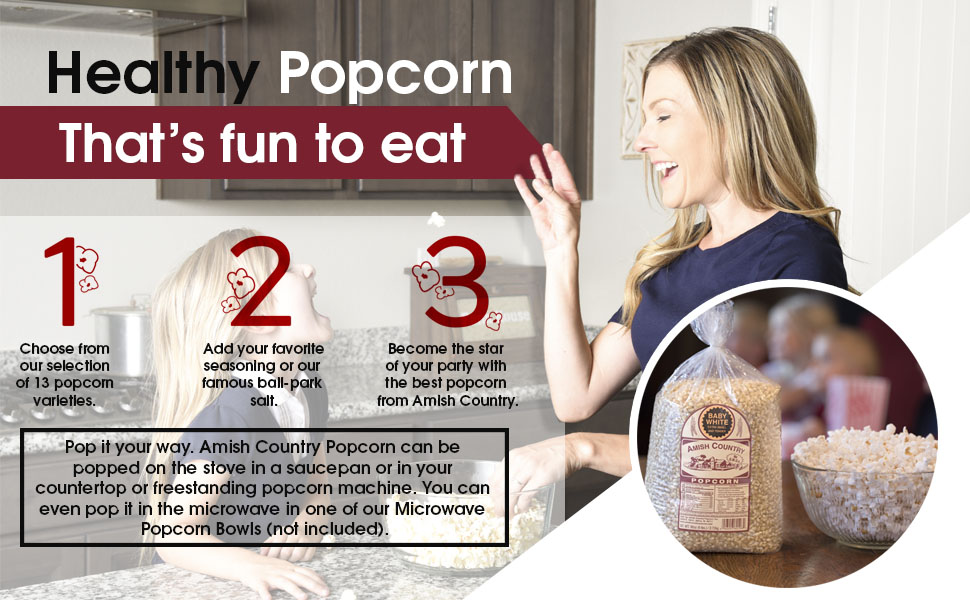 Healthy, Popcorn, Fun, Kernels, Family, Amish, Country, Popped, Unpopped