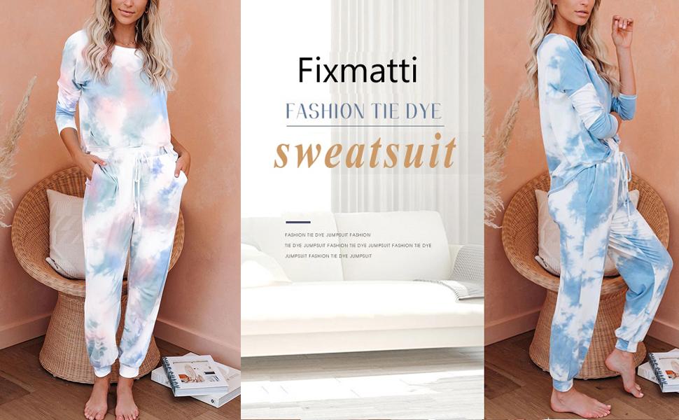 Fixmatti women tie dye sweatsuits