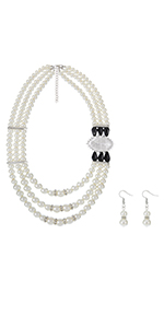 Women Multi Bid Pearl Necklace Set