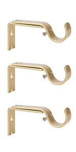 Ycolnaefllr Set of 3 Golden Adjustable Curtain Rod Brackets Rod Holders