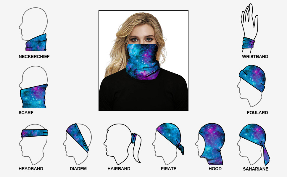 Unisex Seamless Rave Face Mask Bandan, Neck Gaiter Tube Mask Headwear, Motorcycle Face Mask Scarf
