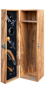Thirteen Chefs Olive Wood Wine Box with Sommelier Tools
