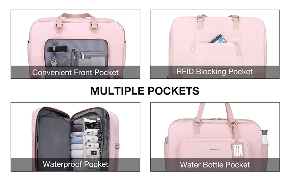 Gym BAGSMART Weekender Bag Travel Duffle Bag Under Seat Carry On Bag for Travel Black Sport
