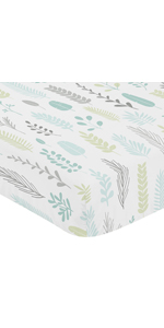 Blue and Grey Tropical Leaf Unisex Boy or Girl Baby or Toddler Nursery Fitted Crib Sheet
